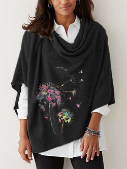 Black Cowl Neck A-Line Casual Printed Outerwear