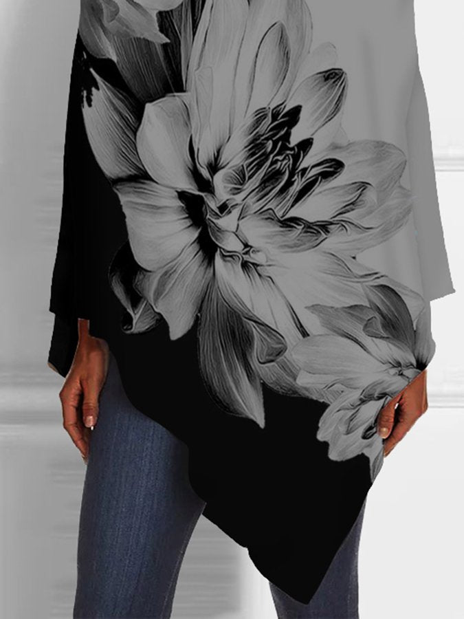 Floral V Neck Casual Shirts & Tops