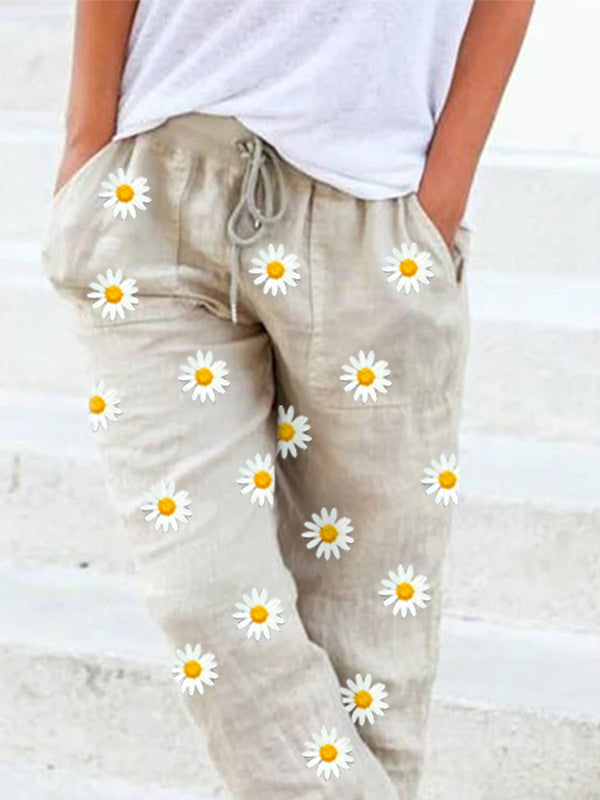 Beige Shift Floral Casual Linen Pants