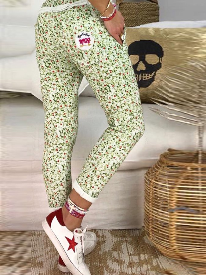 Casual Floral Cotton Pants