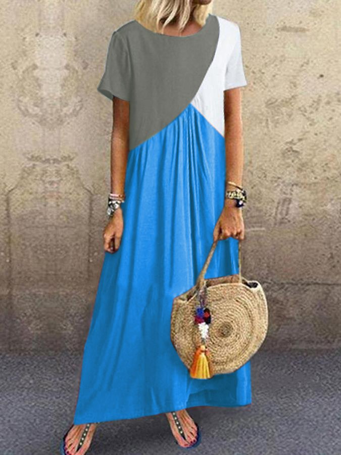 Short Sleeve Casual Patchwork Round Neck Dresses