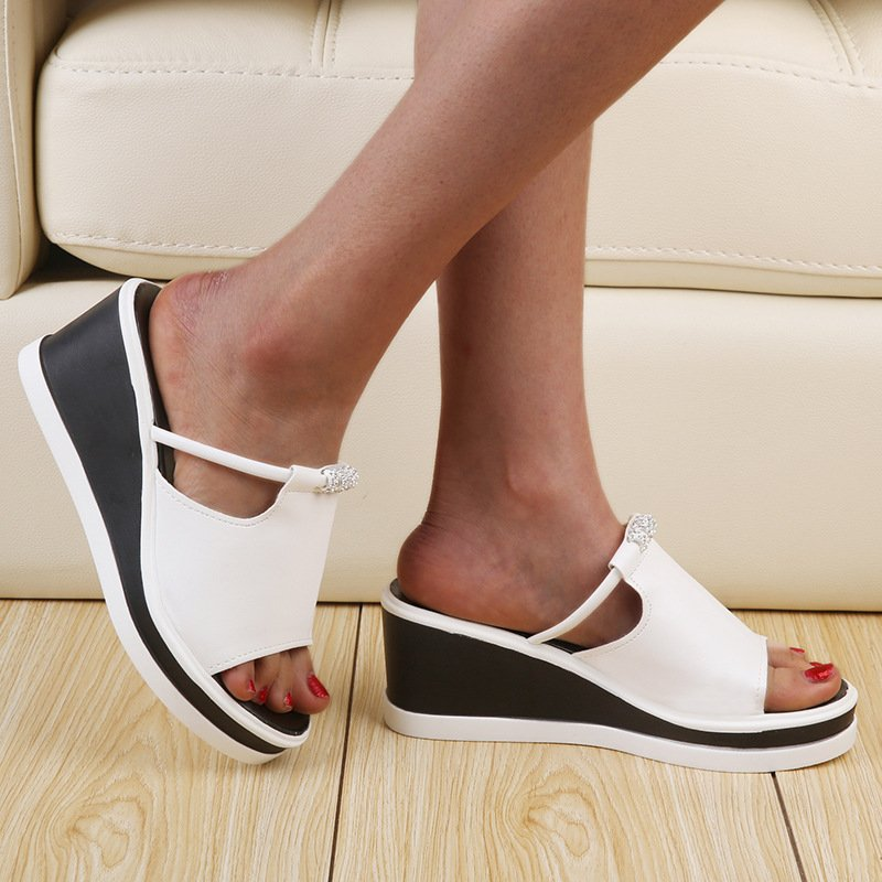 Women Peep Toe Wedge Heel Slide Sandals House Shoes