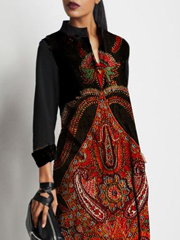 Tribal Long Sleeve V Neck Shift Dress