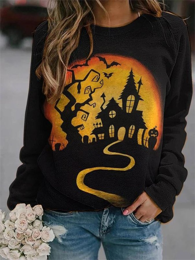 Halloween Print Casual Long Sleeve Top