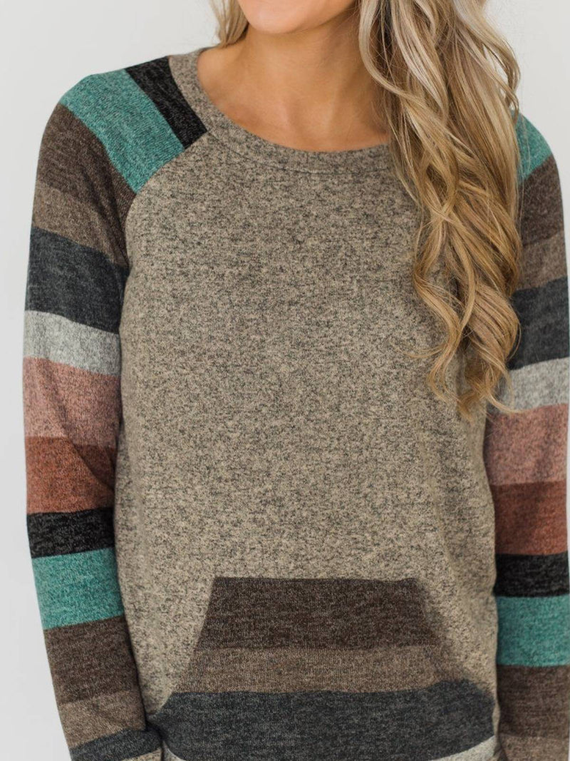 Gray Floral-Print Stripes Crew Neck Casual Sweatshirt