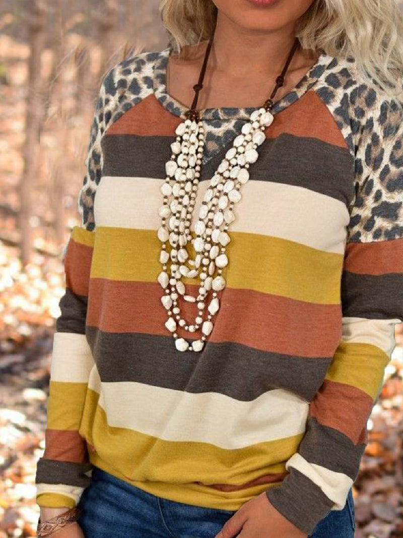 Multicolor Leopard Crew Neck Casual Shirts & Tops