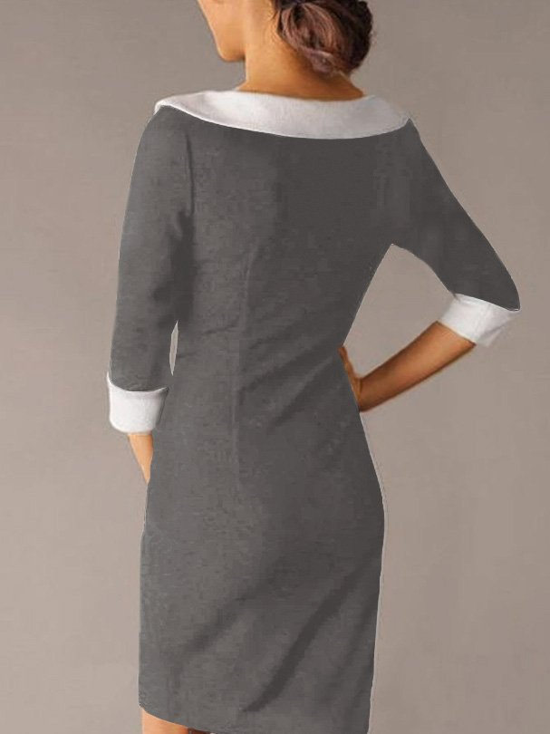 Black Crew Neck Solid Half Sleeve Dresses