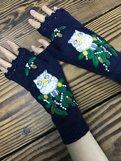Royal Blue Embroidered Casual Acrylic Gloves & Mittens