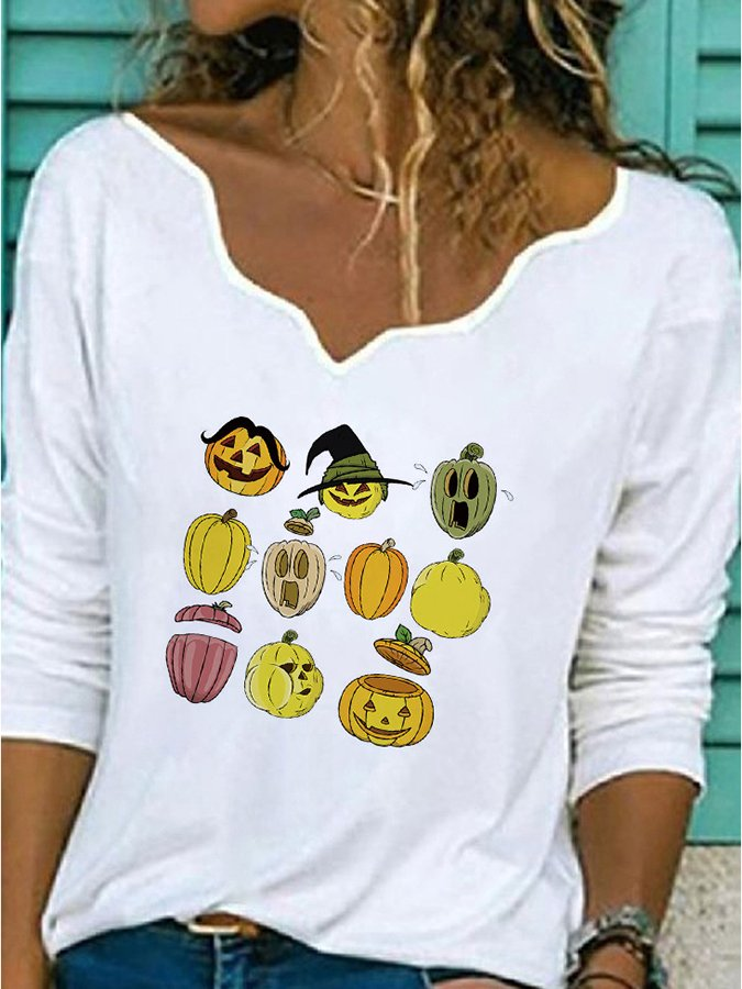 Halloween Graphic Printed V Neck Shirts & Tops