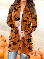 Halloween Shawl Collar Casual Outerwear