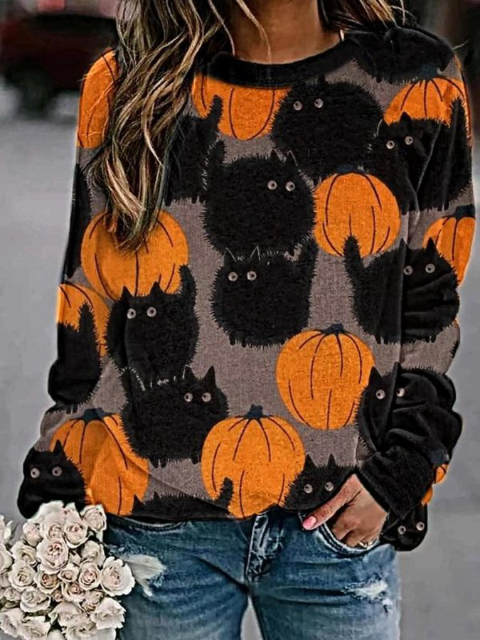 Cartoon Printed Round-neck Long Sleeve Loose Blouse