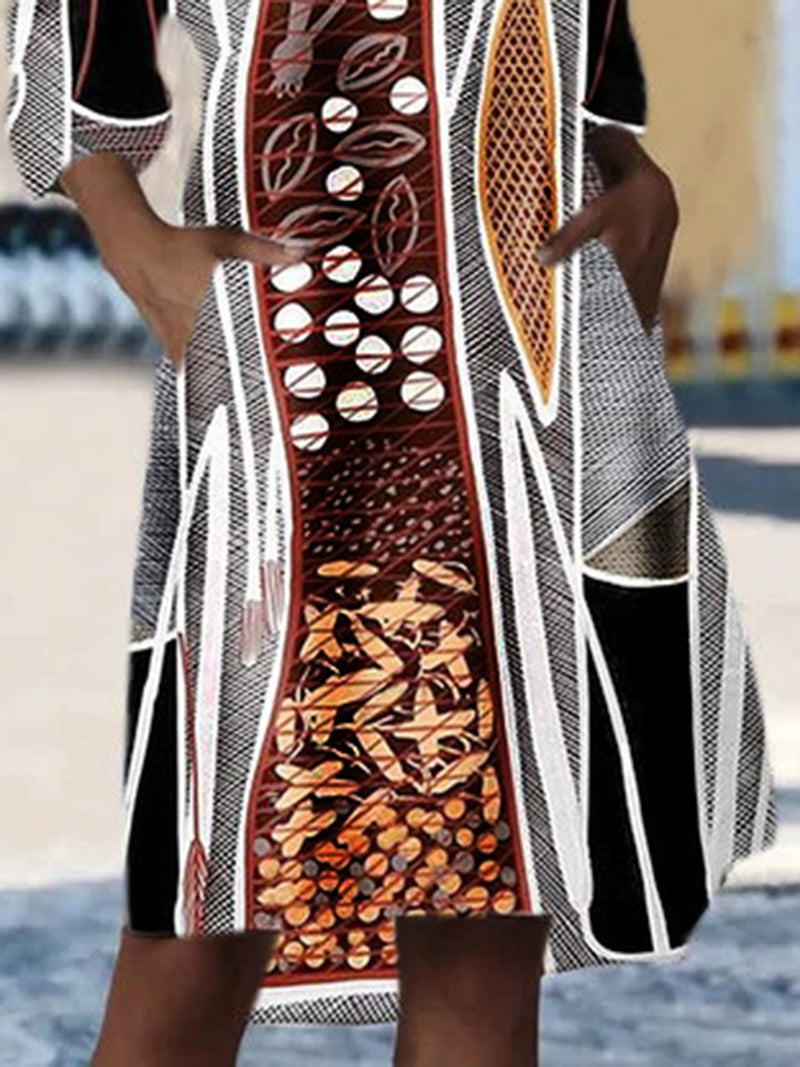 Brown V Neck High Low Half Sleeve Printed Dress