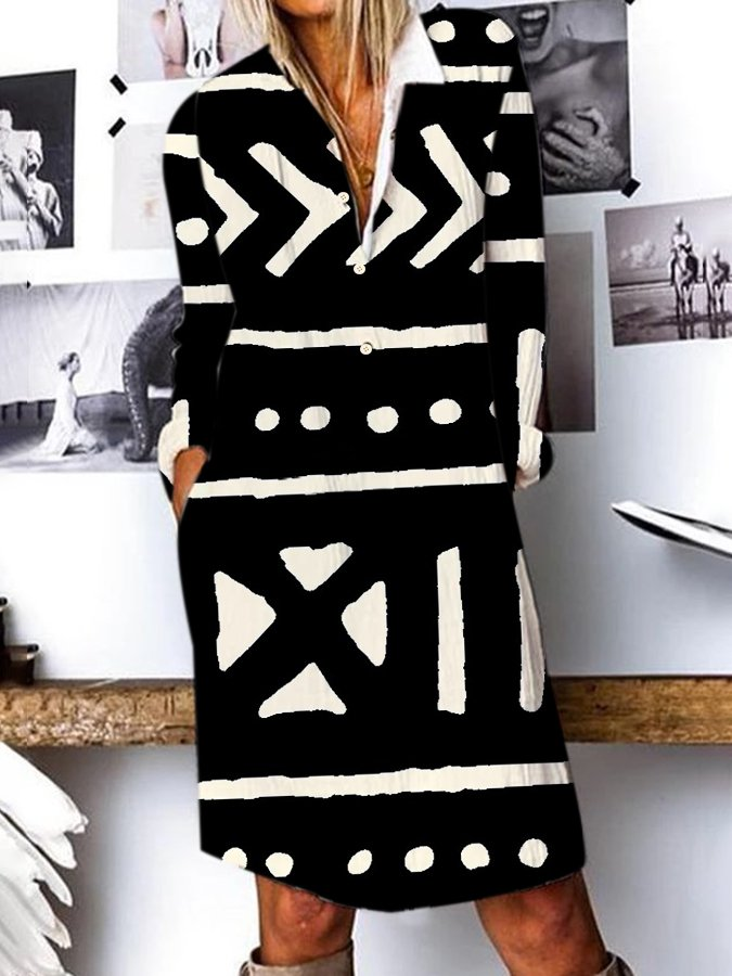 Shift Graphic Long Sleeve Casual Dress