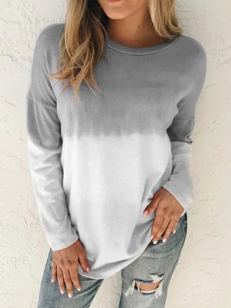 Casual Gradient Long Sleeve Crew Neck Tops