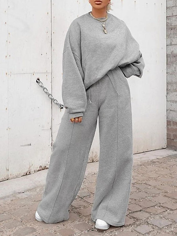 Gray Crew Neck Casual Shift Suits