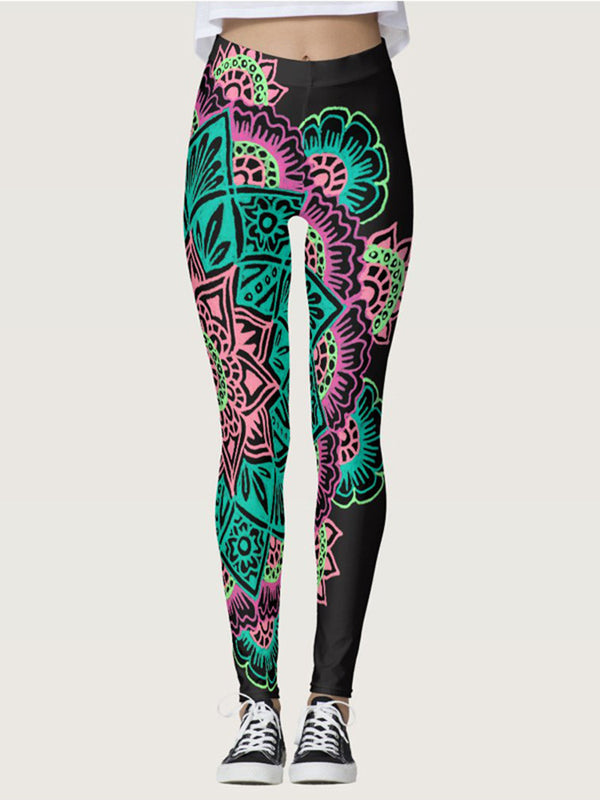 Green Floral Printed Athletic Pants