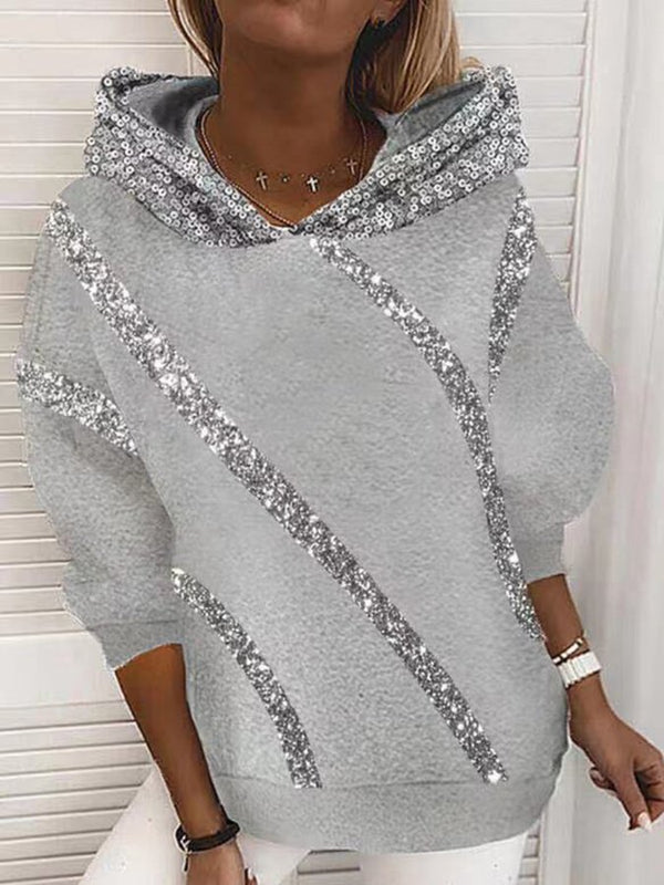 Printed Loose Round Neck Hooded Sweatshirt