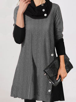 Casual Loose High Neck Long Sleeve Dress
