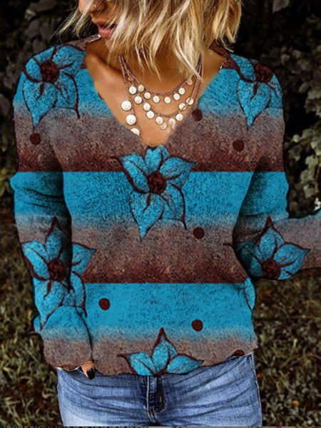 Blue Floral Casual Long Sleeve Tops