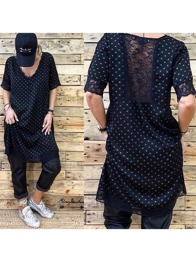 Black Casual Polka Dots Shirts & Tops