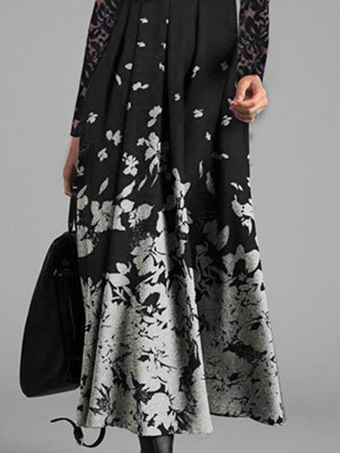 Vintage Elegant Long Sleeve Lace Floral Maxi Dress