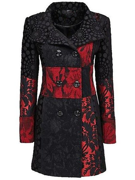 Black-Red Vintage Tweed A-Line Outerwear