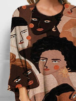 Brown Casual Shift Crew Neck Printed Shirts & Tops