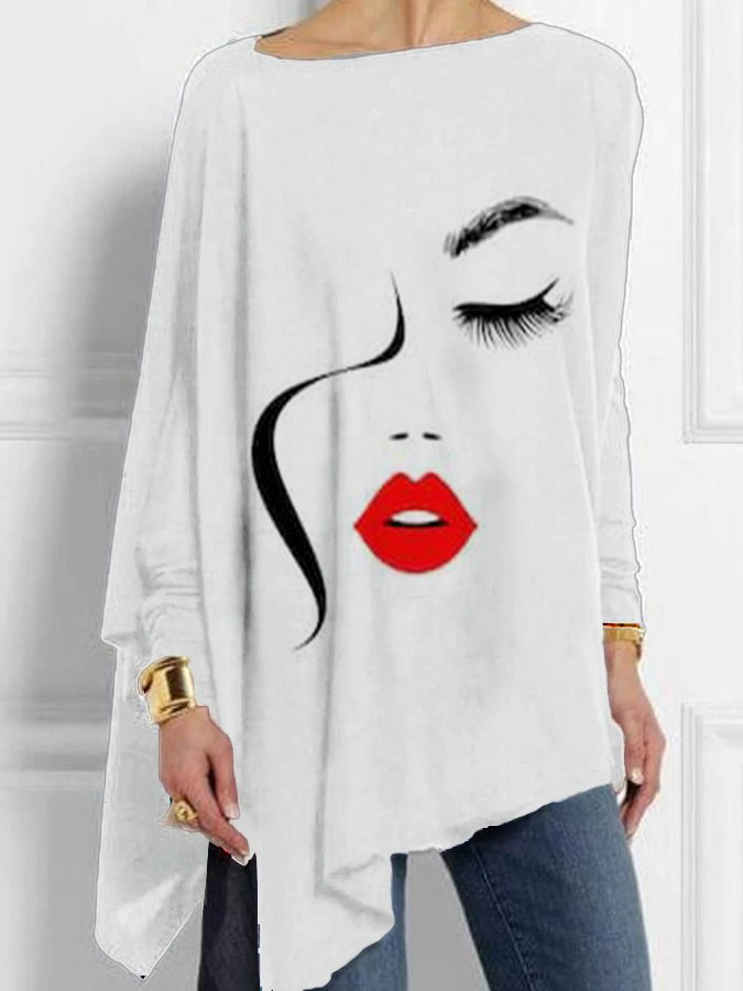 White Shift Crew Neck Long Sleeve Cotton Shirts & Tops