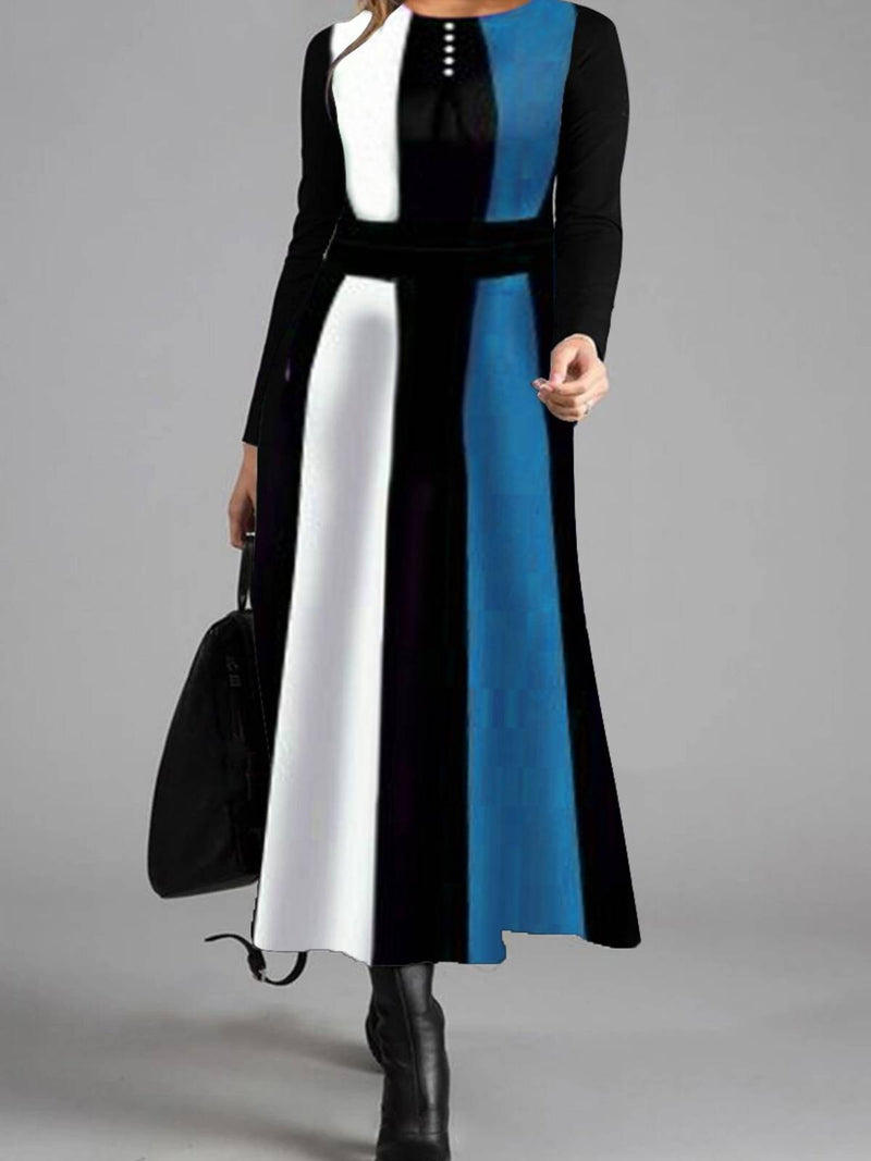 Elegant Retro Color Matching Long Sleeve Maxi Dress