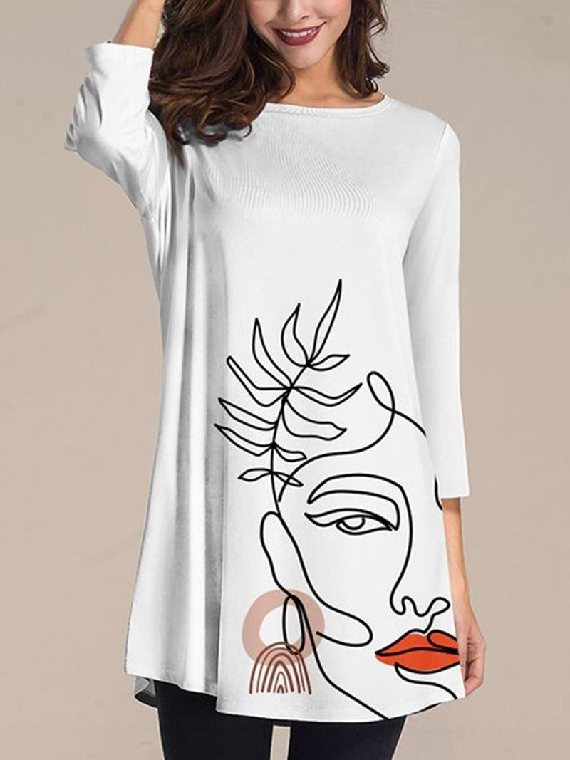 White A-Line Abstract Long Sleeve Printed Dresses
