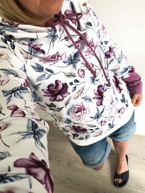 White Casual Floral Printed Long Sleeve Hoodie Sweatshirt
