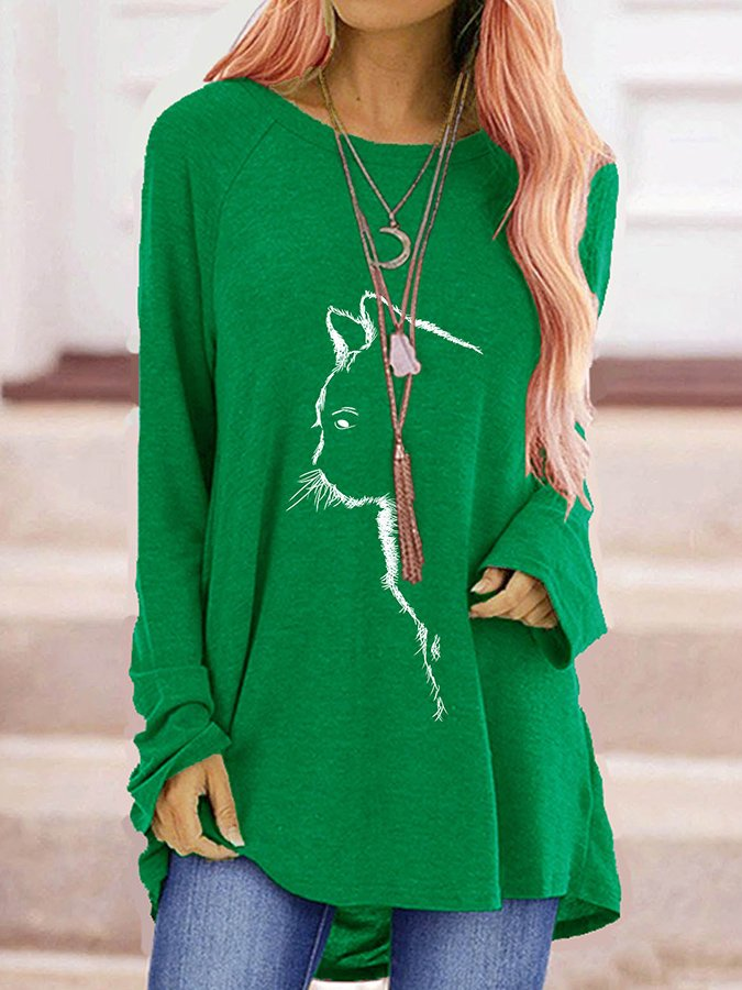 Crew Neck Casual Long Sleeve Printed T-Shirts
