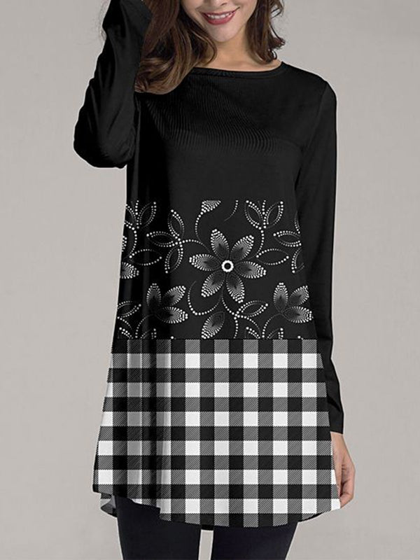 Black-White Long Sleeve A-Line Printed Crew Neck Dresses
