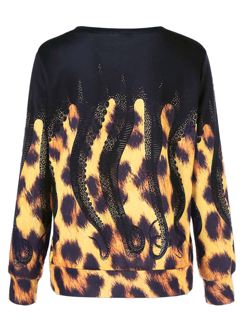 Vintage Statement Leopard Printed Plus Size Long Sleeve Crew Neck Casual Sweatshirt Tops