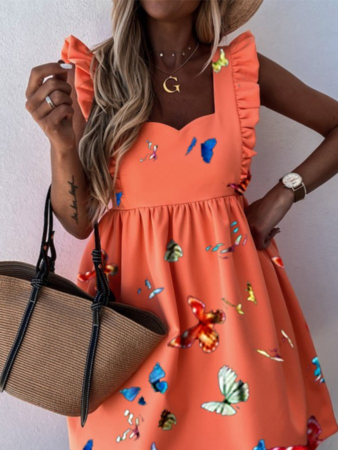 Orange Animal Sleeveless A-Line Dresses