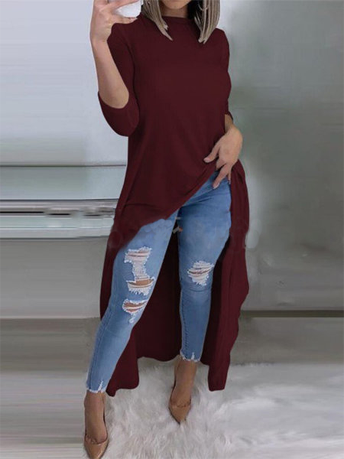 Casual High Low Long Sleeve Top
