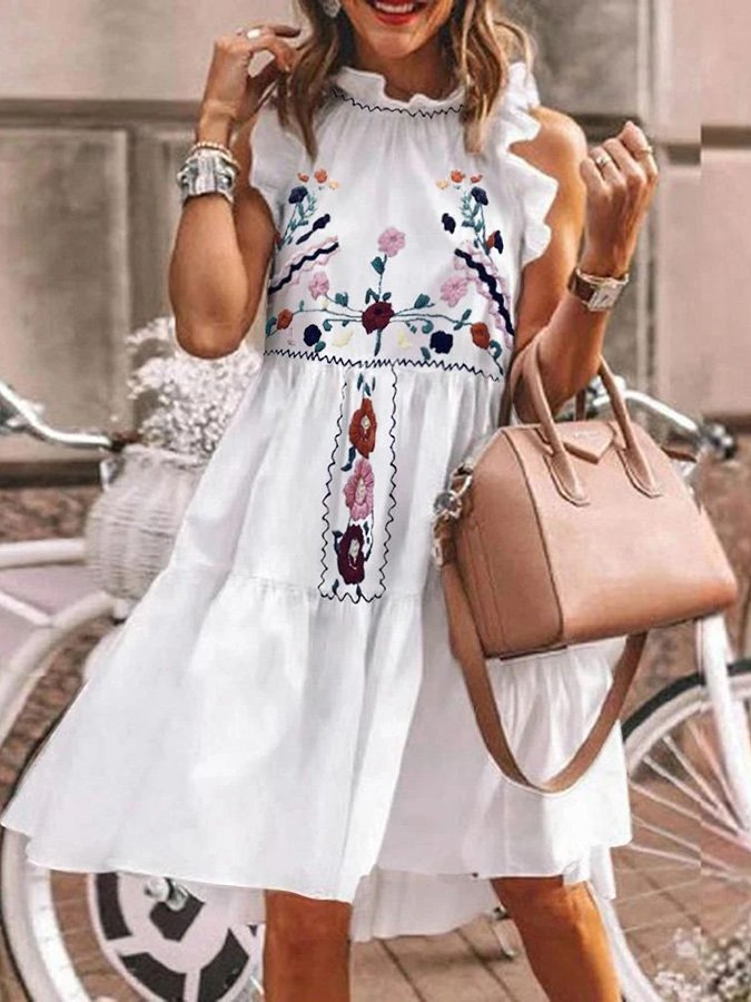 White Floral Casual Crew Neck Dresses
