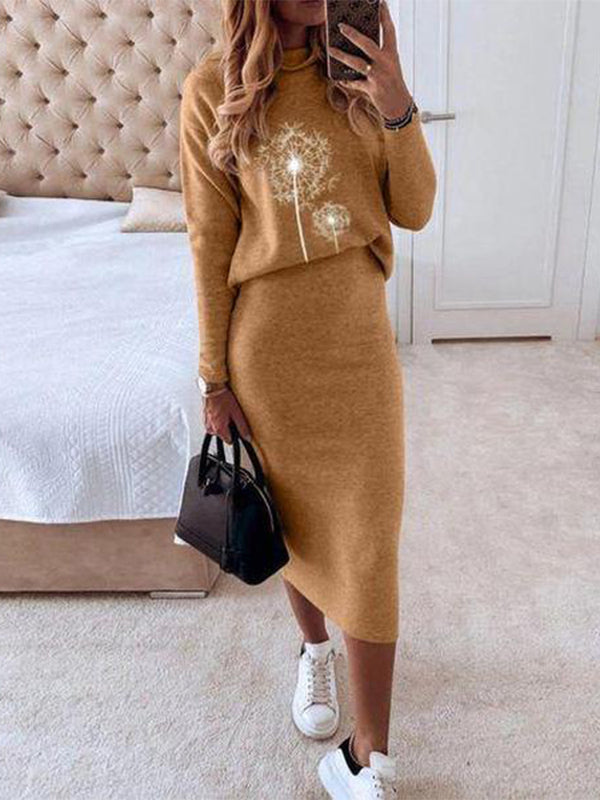 Solid Color Casual Long Sleeve Two-Piece Suit