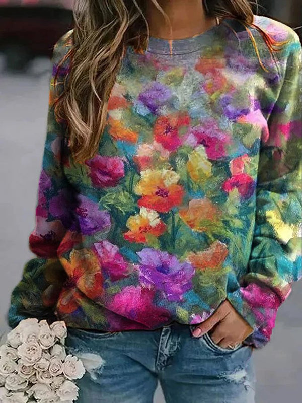 Multicolor Floral Casual Cotton-Blend Crew Neck Sweatshirt