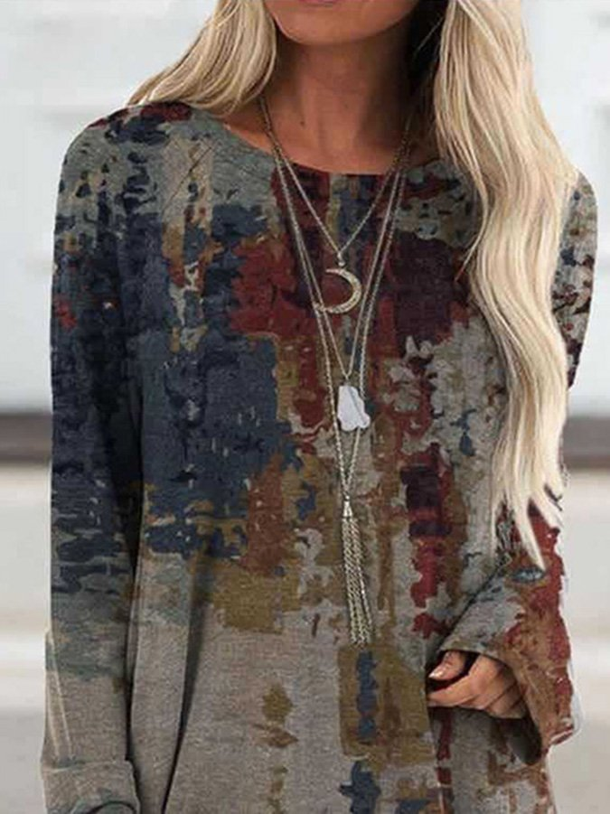 Long Sleeve Ombre/tie-Dye Shift Cotton-Blend Shirts & Tops