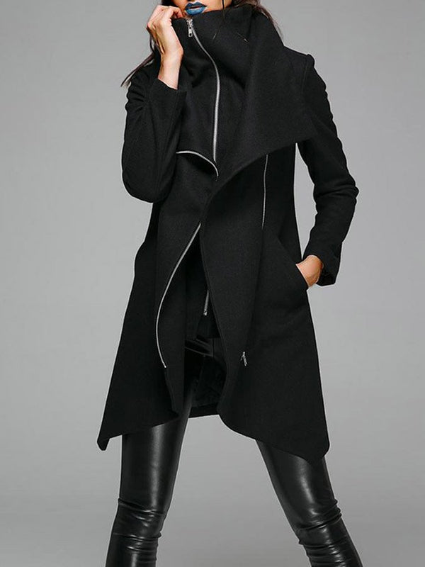 Women Long Sleeve Turn-Down Collar Shift Pockets Coat