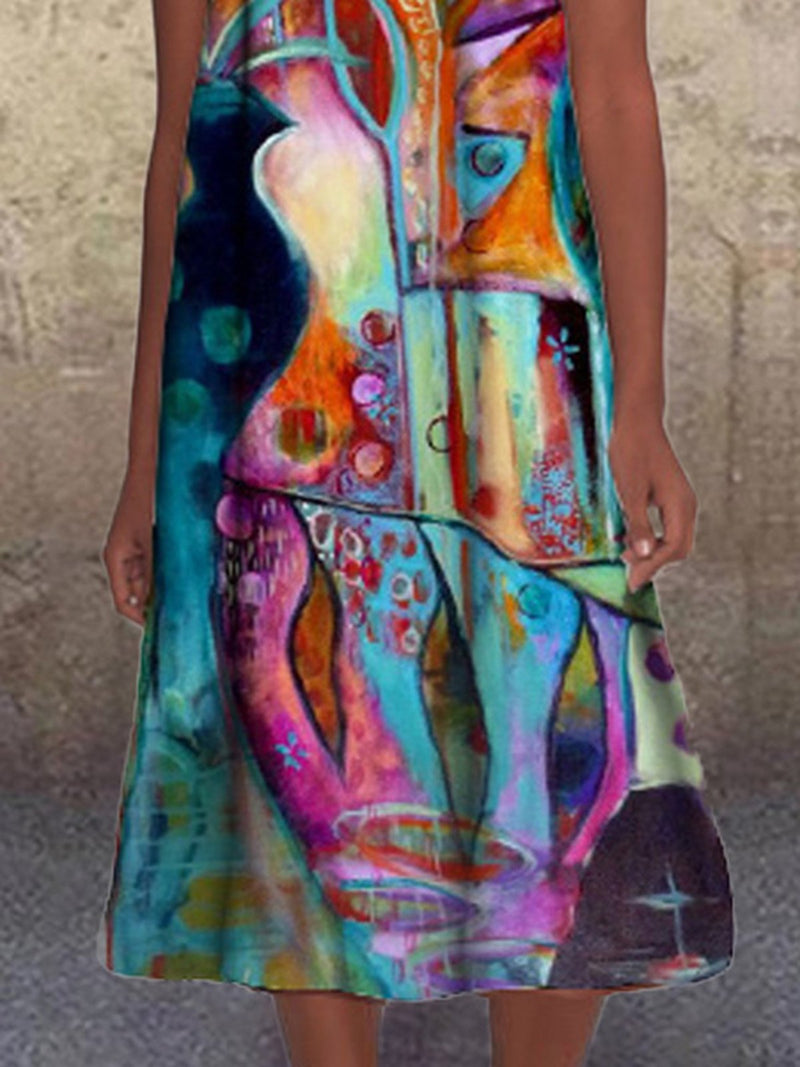 Aqua Crew Neck Shift Printed Sleeveless Dress