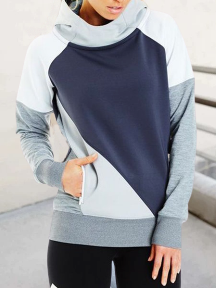 Gray Color-Block Casual Sweatshirt