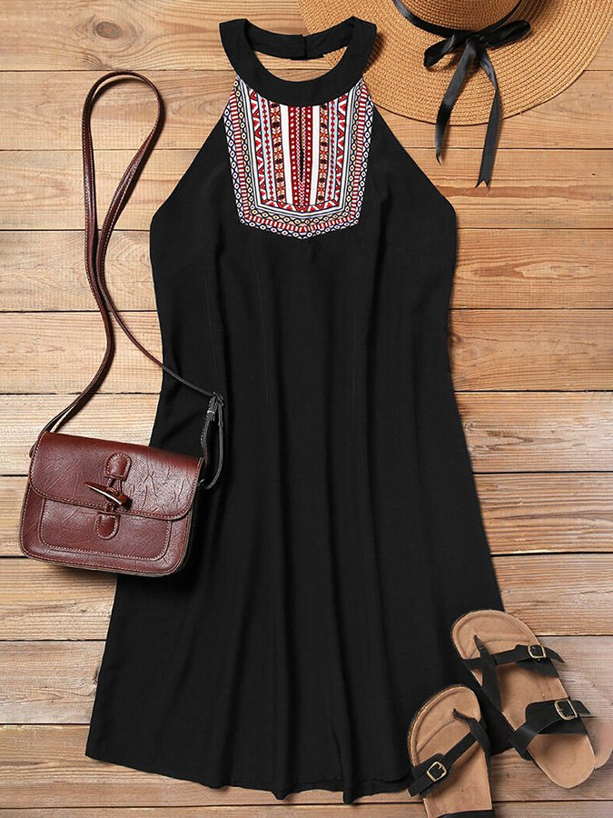 Black Casual Tribal Shift Halter Dresses