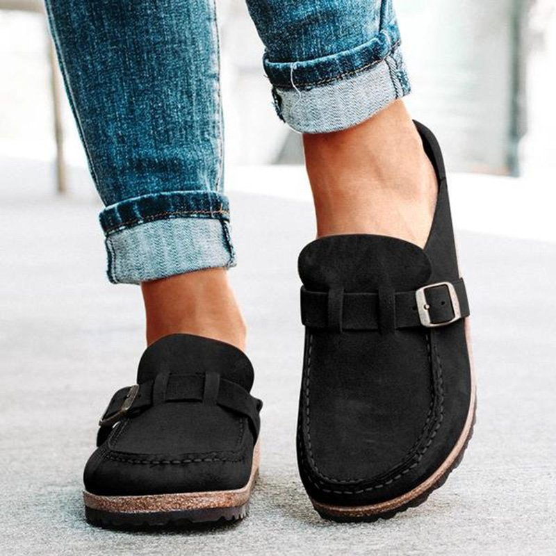 Women Casual Comfy Leather Slip On Mule Sandals