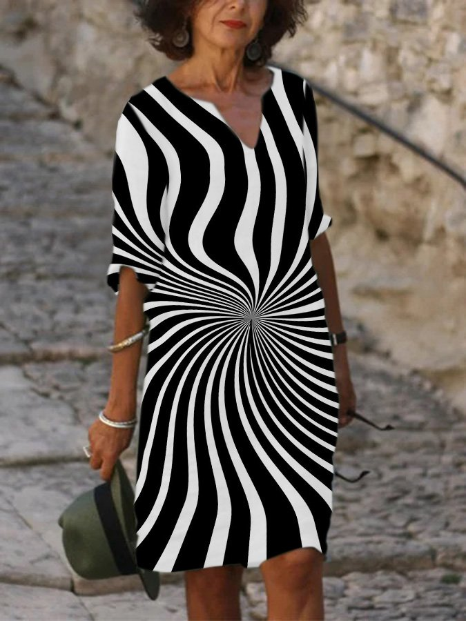 Casual Abstract Shift V Neck Dresses