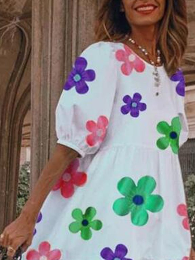 White Short Sleeve Floral A-Line Crew Neck Dresses