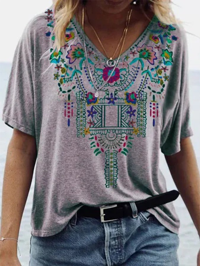 Gray V Neck Shift Tribal Vintage Shirts & Tops
