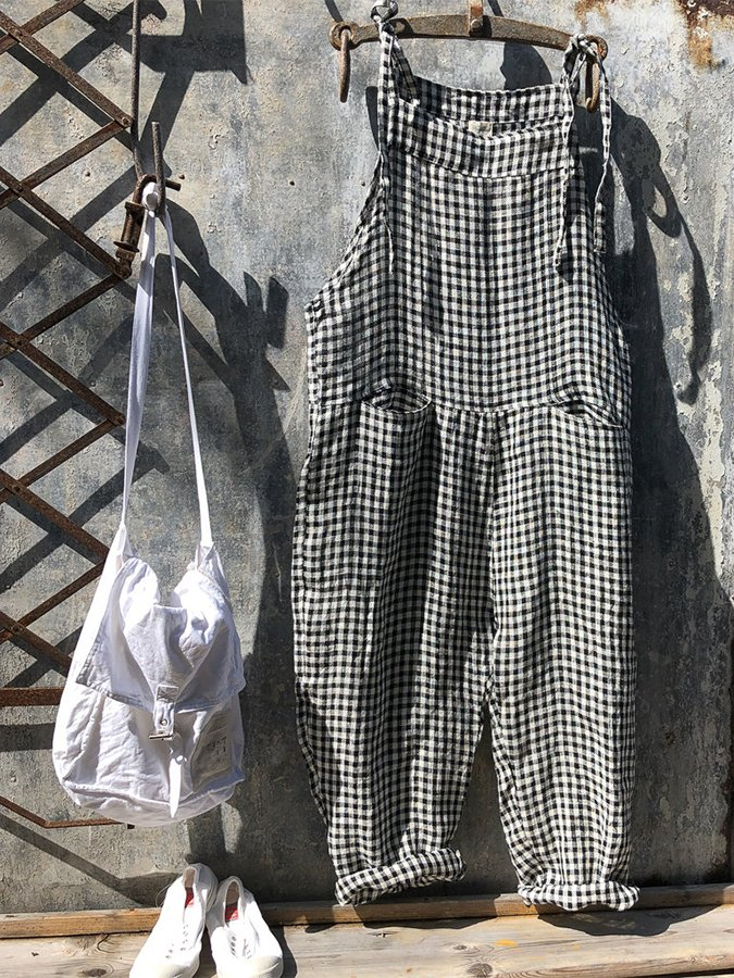 Denim linen black and white check loose bib