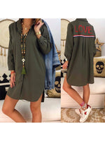 Army Green V Neck Cotton Long Sleeve Letter Dresses